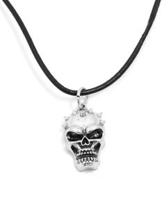 Spike Skull Necklace (Silver Toned)