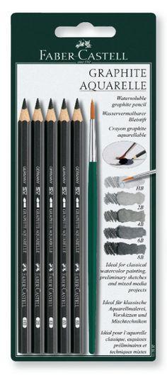 Faber Castell Aquarelle Watersoluble Graphite Pencils Set 5 Degrees /& Brush