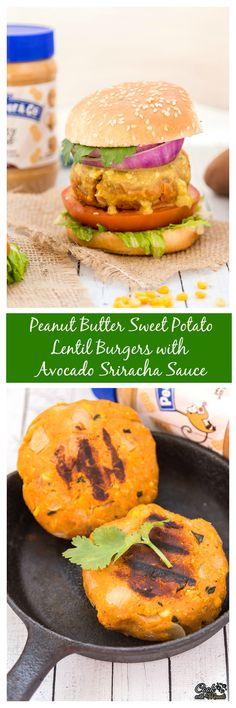 Peanut Butter Sweet Potato Lentil Burgers with Sriracha Sauce