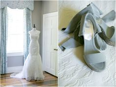 Lace Wedding Dress and Blue Shoes