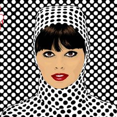 Pop Art Girl Vector love the use of spots and the red lipstick against the black and white draws your eyes to the face.