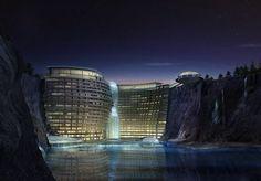 2014-2015 Tianmashan Mountain, China. 19 verdiepingen, 380 hotelkamers.