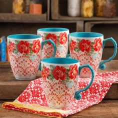 Free Shipping on orders over $35. Buy The Pioneer Woman Vintage Floral 26-Ounce Jumbo Latte Mug Set, Set of 4 at Walmart.com