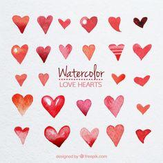Cute watercolor hearts Free Vector