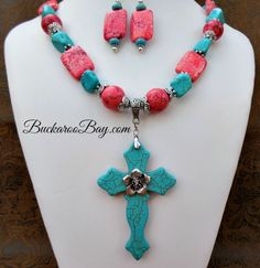 Flower Cross Cowgirl Necklace Set