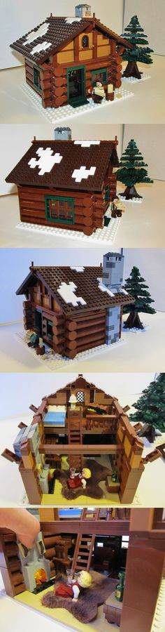 Legos take on the cabin look | Winter Village Log Cabin
