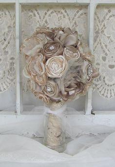 Bridal Brooch Bouquet Vintage Fabric Bouquet Elegant Neutrals Fabric flower bouquet, alternative bouquet wedding bouquet