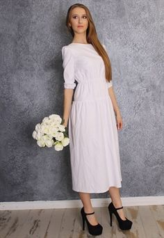 White cotton dress with half sleeves