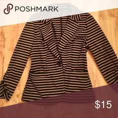 Black and Tan Stripe Blazer Perfect for the office! Tailored, soft blazer in perfect condition great for day to night wear. Looks great with pencil skirt and heels👌🏻 Jackets & Coats Blazers