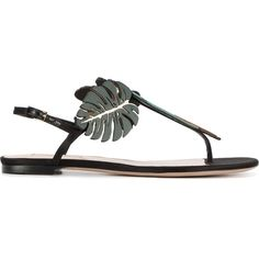 Valentino Tropical Dream Flip Flops (€800) ❤ liked on Polyvore featuring shoes, sandals, flip flops, multicolor, flower shoes, ankle tie sandals, ankle strap shoes, valentino sandals and ankle wrap sandals