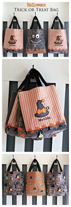 Sewing Bags Project Halloween Trick or Treat Bag Pattern by Lindsay Wilkes from The Cottage Mama… Sac Halloween, Halloween Taschen, Halloween Sewing Projects, Halloween Crafts, Fall Crafts, Diy Halloween Trick Or Treat Bags, Halloween Patterns, Halloween Items, Halloween Party