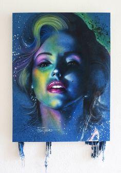 """""""Diva in Blue"""" Marilyn Monroe. Acrylic airbrush on denim Canvas. 30"""" X 40"""" By Hector Prado"""