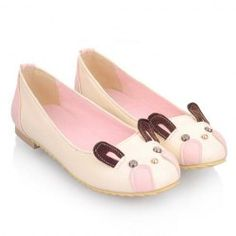 $15.61 Cute Women's Flat Shoes With Color Matching and Bunny Print Design