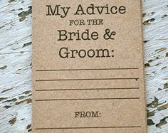 Rustic Wedding Advice Cards