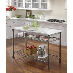 The Orleans Kitchen Island with Marble Top Steel - Home Styles : Target