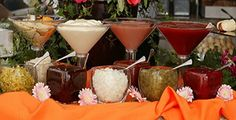 serve condiments in fancy glasses, love this to go with our vintage theme!