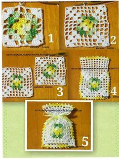 Knit and Crochet Free Pattern Crochet Sachet, Crochet Pouch, Crochet Owls, Crochet Purses, Crochet Home, Thread Crochet, Crochet Gifts, Knit Crochet, Crochet Squares