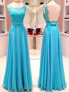 Graceful Scoop Neck Blue Formal Dresses,Chiffon Long Evening Party Dress, Appliques Lace Prom Dresses