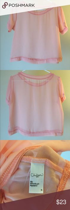 Peach chiffon tee Simple, square tee, in a lux feeling chiffon fabric. Lovely for layering, beach days, festivals or a pop of color over a chemise. American Apparel Tops Tees - Short Sleeve