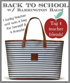 Barrington Bag giveaway!  Details on shayshull.com today!  We're giving away 5 bags to people in education to celebrate Back to School!