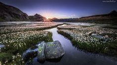 Słońce, Rzeka, Łąki, Góry