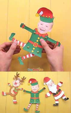 Well lets make this Movable Paper Doll Christmas Photo Craft! Make a Movable Paper Doll Christmas Photo Craft, choose to Elf Yourself, Santa Yourself or Reindeer Yourself. This Christmas craft makes a great keepsake Christmas Crafts For Kids To Make, Easy Halloween Crafts, Christmas Ornament Crafts, Christmas Activities, Holiday Crafts, Christmas Crafts For Preschoolers, Class Christmas Gifts, Fun Christmas Photos, Christmas Time