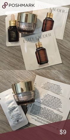 Estée Lauder sample bundle 2 - advanced night repair serum packets 1.5ml each  1 - advanced night repair serum 3ml  1 - revitalizing supreme cream 5ml  I will include extra samples as a gift   I will combine listings to save you on shipping.  Just ask! Estee Lauder Makeup