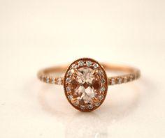 Oval Morganite Diamond Milgrain Halo Engagement Ring in 14K Rose Gold