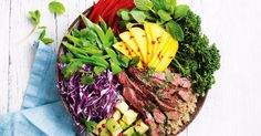 Serve this deliciously easy beef and quinoa bowl with chopped chilli and fresh herbs for an extra boost of flavour.