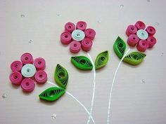 easy quilling for kids - pink and green paper flower art