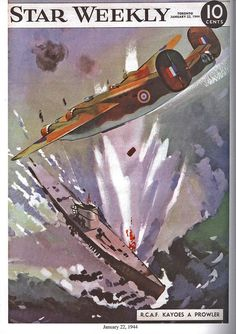 The Star Weekly was a Canadian newsmagazine published by the Toronto Star. During the Second World War, a colour illustration with a wartime theme appeared on the cover each week. Here's an image dated January 22, 1942 showing the RCAF attacking a submarine.