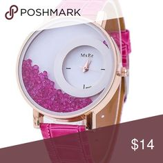 Crystal Leather Watch with unique moving crystals Fashion Crystal Leather Watch with unique moving crystals inside Accessories Watches
