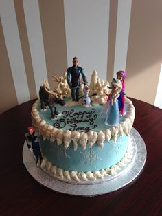 Frozen themed buttercream birthday cake with all your favourite characters  White Rock BC Nut-free Bakery