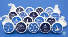 Little Prince Royal Baby Shower Party Favor Stickers - Silver and Blue (Set of 324)