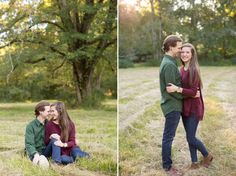 A romantic fall engagement session at Mathew's Manor in Springville, Alabama. Sweet engagement session pictures in a field. Birmingham, Alabama wedding photographers.