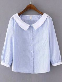 Blue Stripe Contrast Collar Blouse