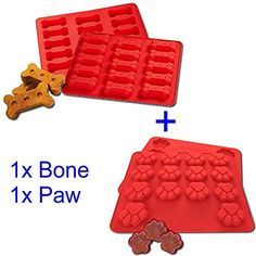 HOSL® 2-pack Food Grade Large Mats Trays, Puppy Pets Dog Paws & Bones Silicone Baking Molds, Bake Dog Treats For Pets, Kids, Dog-lovers, Kitchen Tips