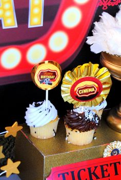 Hollywood Party - CINEMA Party - GLAM CUPCAKE TOPPERS