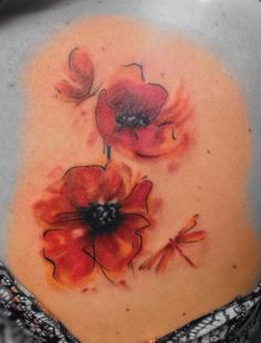 Watercolor poppy tattoo Lila Rees