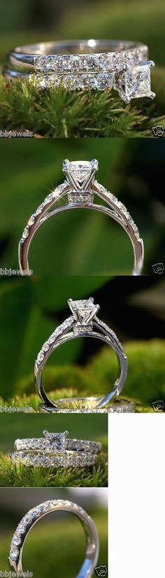 Wedding rings: 1.30Ct Princess Cut Diamond Solitaire Bridal Set Engagement Ring 10K White Gold -> BUY IT NOW ONLY: $299.99 on eBay! #GoldJewelleryBridal