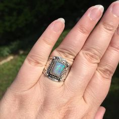 I'm in love with this custom opal and stamped band combo! I cut and polished the opal and hand stamped the silver band.