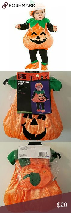 Baby Lil' Pumpkin Costume Some jack 'o lanterns are scary and some are cute as can be. Watch the smiles light up the faces of all who behold your little one in this cute and cheerful Li'l Pumpkin baby costume - be sure to take pictures because this one's a keeper. New, never worn.  The Li'l Pumpkin baby costume consists of an orange, black and green jack 'o lantern jumpsuit, hat and booties Materials/ Fabrics - 100% Polyester Wash/Care Instructions- Hand wash warm Totally Ghoul Costumes…