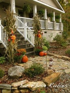 60 Amazing Autumn Porch Décor Ideas : 60 Pretty Autumn Porch Décor Ideas With White Wooden Walls Stairs Window Door Lamp Brick Outdoor Floor Pumpkin Ornament