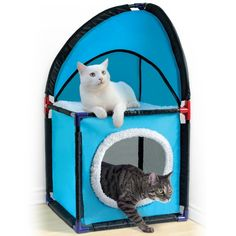 "Pamper Your Favorite Felines! The cat condo easily fits into any corner of the house, providing them with their own two-story space to play, sleep & lounge. Sturdy design, made of durable polyester, assembles quickly & easily without any tools. 14"" x 14"" unit stands approx. 27"" high."