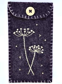 Felt phone case, i pod, gadget cover. Seedheads, grape purple.. $ 21.00, via Etsy.