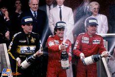 Monaco Grand Prix, Monte Carlo, 11 May 1986 - Winner Alain Prost, 3rd place Ayrton Senna and Keke Rosberg on the podium. In the background Princess Stephanie, Prince Rainier, Prince Albert and Princess Antoinette of Monaco