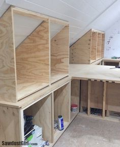 Building Angled Cabinets - Sawdust Girl - - Building angled cabinets out of plywood for the top of the island in the studio craft room. Angled cabinets are built the say as any other cabinet. Loft Storage, Small Space Storage Bedroom, Storage Bench Bedroom, Bedroom Storage, Bedroom Storage Ideas For Clothes, Diy Bedroom Storage, Bedroom Storage For Small Rooms, Loft Room, Storage