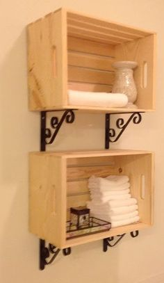 Crate Furniture, Diy Pallet Furniture, Furniture Projects, Diy Regal, Crate Shelves, Diy Holz, Wood Crates, Easy Home Decor, Home Organization