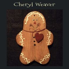 Handpainted Carved Wood Gingerbread Ornie Peg by cherylweaver, $5.00