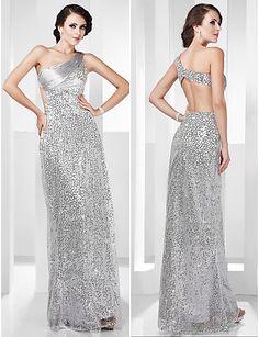 One Shoulder Sequined Silver Evening Dress | Evening & Cocktail Dresses Blog